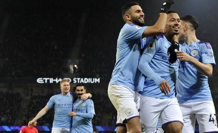 Selebrasi Gabriel Jesus, usai mencetak gol ke gawang Everton